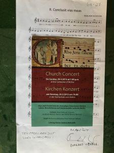 Concert program prepared by Dr Burkard Wehner